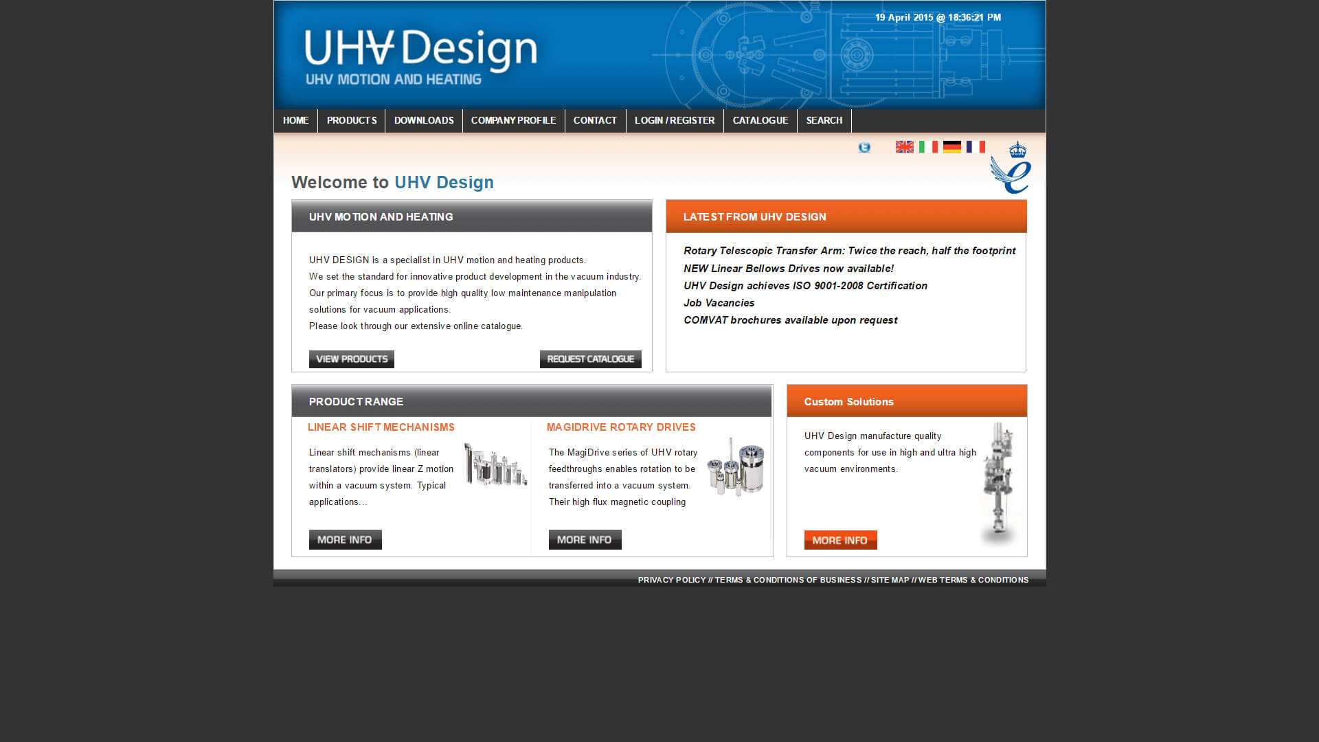 UHV website before
